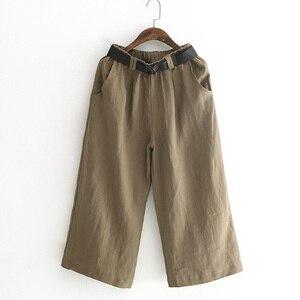 Image 5 - Johnature pantalones de pierna ancha para mujer, pantalón informal de lino y algodón, con bolsillos y cintura elástica, Color liso, 2020
