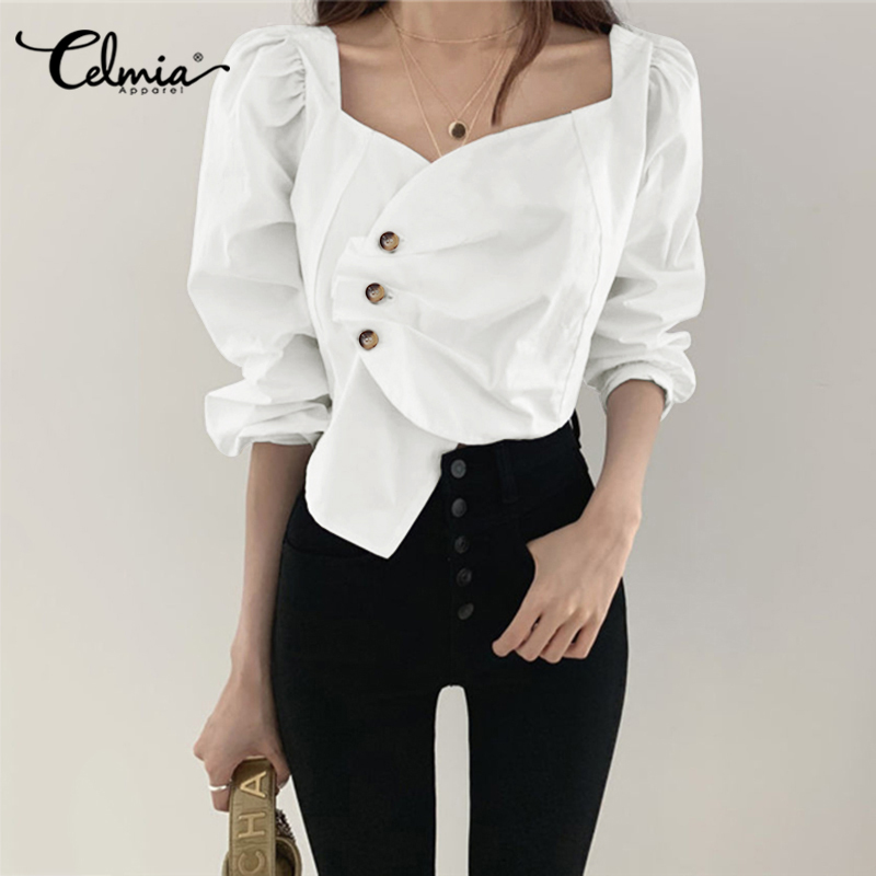 S-5XL Women's Long Sleeve White Blouse Celmia 2020 Sexy Square Collar Vintage Asymmetrical Shirts Plus Size Buttons Ruffled Tops