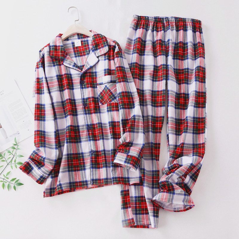 Cotton Woven Grinding Pajamas Men's Pajamas Plaid Long Sleeve Pants Home Service