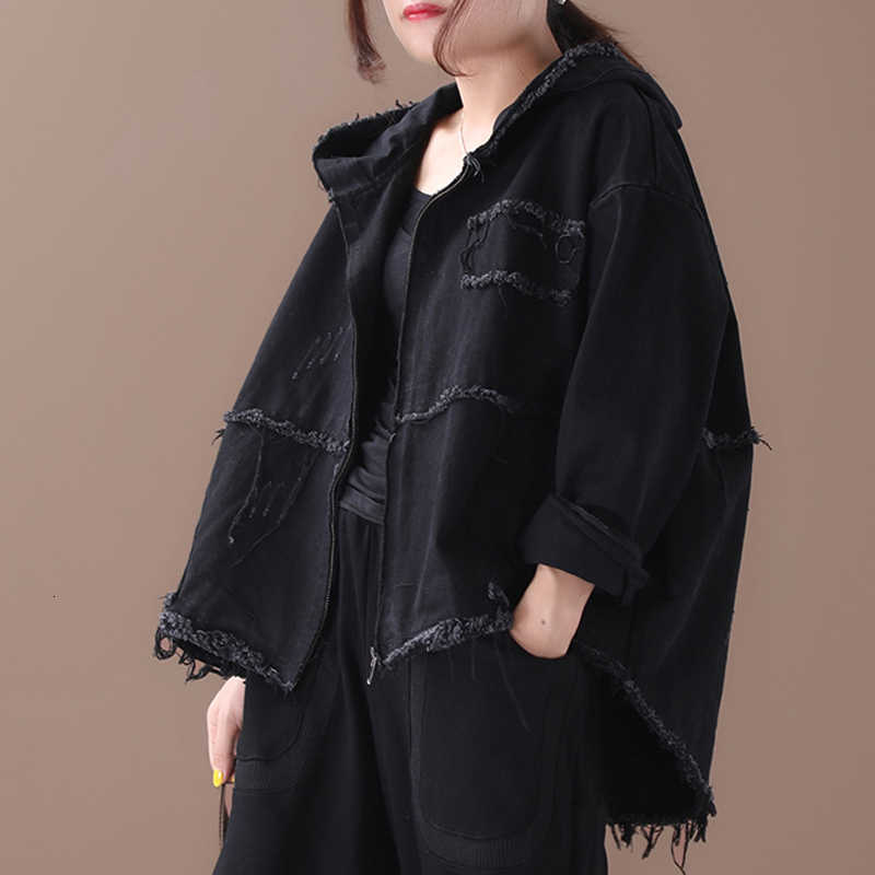 Max LuLu 2019 di Moda Coreana Punk Streetwear Donna Con Cappuccio Vestiti Delle Donne Dell'annata di Autunno Giubbotti Cappotti Denim Più Il Formato di Grandi Dimensioni