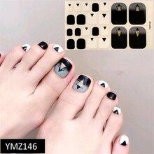 Adhesive Sticker Wraps Toenail-Decor Geometric Triangle-Patterns Black 1sheet for White