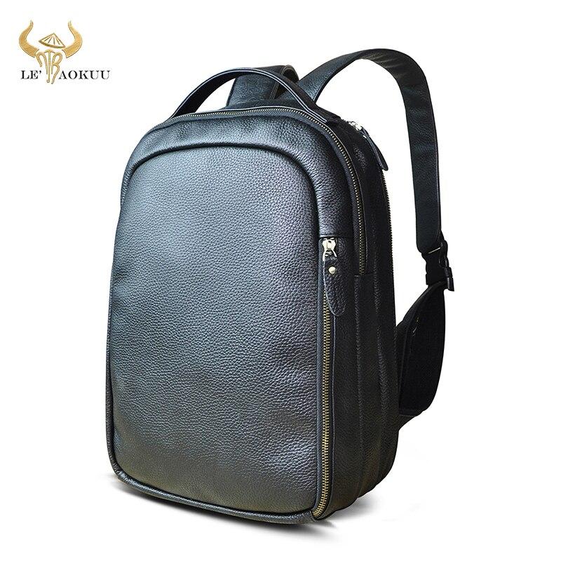 Купить с кэшбэком Men Real Leather Fashion Travel Bag University School Book Bag Cowhide Design Male Backpack Daypack Student Bag 621-d