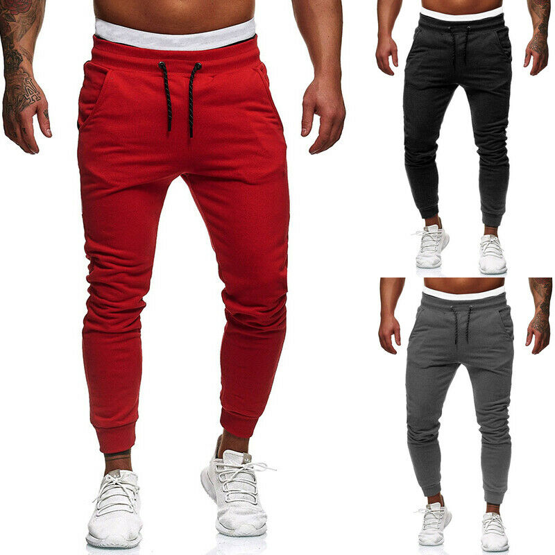 Men's Track Pants Slim Cuff Trousers Sport Tracksuit Casual Plain Elastic Waist Fit Sweatpants Male Joggers Bottoms Long Pants