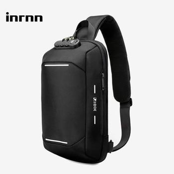 inrnn Multifunction Men Chest Bag Anti Theft Male Shoulder Bags Waterproof Sling Messenger Bag Mens USB Charging Crossbody Bag
