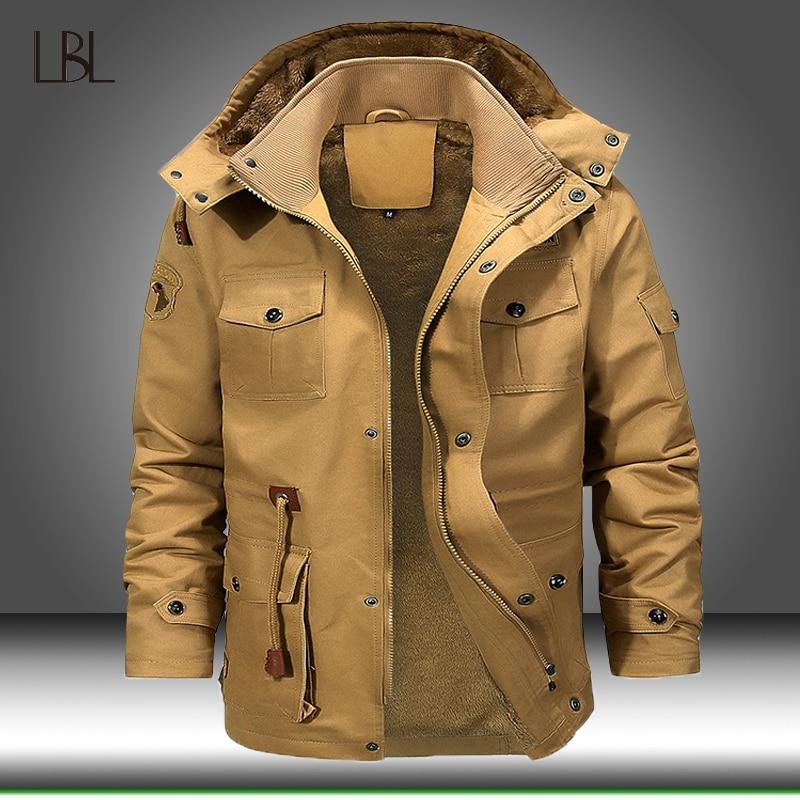 Мужская куртка-бомбер с несколькими карманами и карманами, зимняя теплая куртка с капюшоном, Мужская Флисовая ветровка в стиле хип-хоп, Мужс...