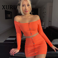 XURU New Dress Short Button Long-Sleeve Two-Piece Winter One-Shoulder Autumn with And