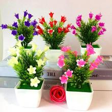 1 шт., содержит горшки, искусственные цветы, растения Лилия, свадебные, домашние, цветочные бонсай, Декор, подходит для ресторана, отеля, украшения для дома