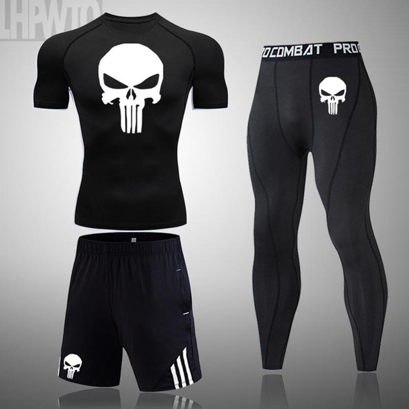 Men Compression MMA set Short Tight T-shirt Sportswear Clothes Men Pants Fitness Bodybuild ing Skull Punsher Rashguard Sport