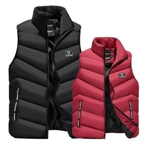 Image 1 - 2020 yelek jile Homme yelek Mens kış kolsuz ceket erkekler aşağı yelek erkek sıcak kalın kapşonlu palto erkek pamuk dolgulu
