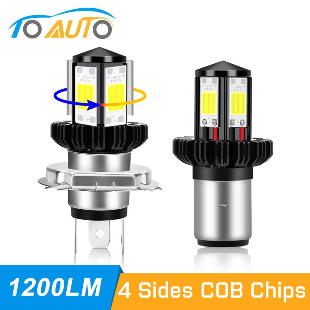 H4 BA20D 1200LM Led Motorcycle Headlight Bulb 4 Sides COB Chips 6000K Super White Motor Bike Scooter Hi Lo Lamp Moto Headlight