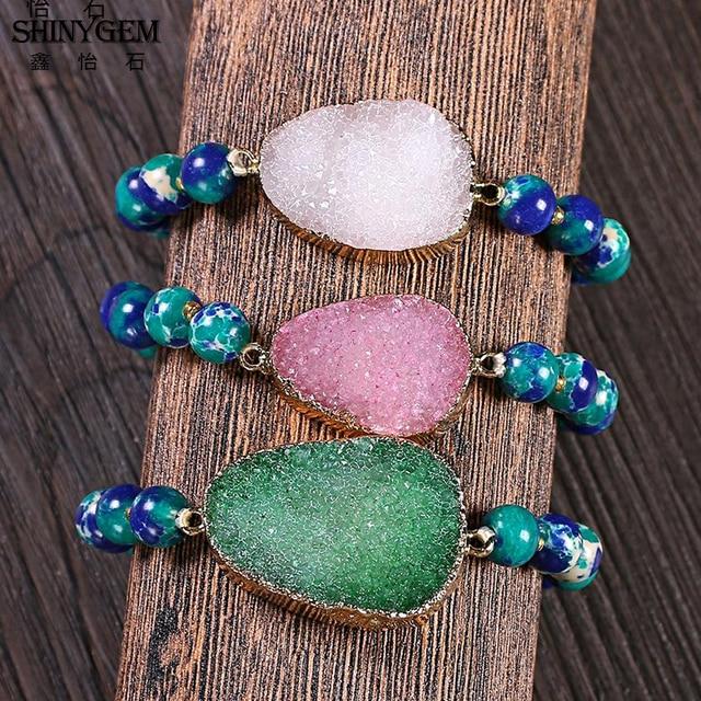 Купить shinygem браслеты из натурального камня для йоги 8 мм синие