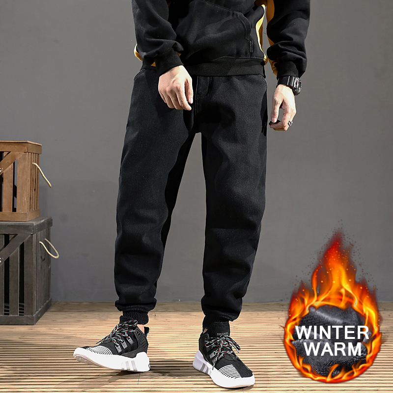 New Winter Jeans Men Black Color Slim Fit Stretch Thick Velvet Pants Warm Jeans For Men Fashion Casual Fleece Trousers Male