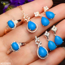 KJJEAXCMY Fine Jewelry 925 sterling silver inlaid natural blue Turquoise female ring pendant earring set luxury supports test faux turquoise cow engraved jewelry set