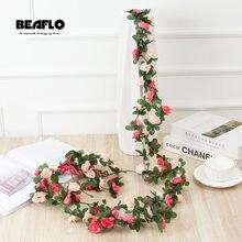 Roses artificielles en rotin de 2.2M, petite guirlande de pivoines d'automne en soie pour décoration de mariage, maison, hôtel, jardin