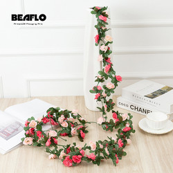 2.5M Artificial rose flowers rattan autumn Small Peony String decor silk fake garland for wedding home hotel Garden Decoration