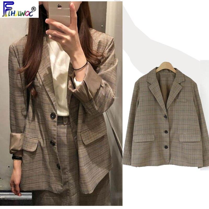 Women Blazers And Jackets Cute Sweet Japan Korea Preppy Style Vintage Design Button Plaid Jacket 9923