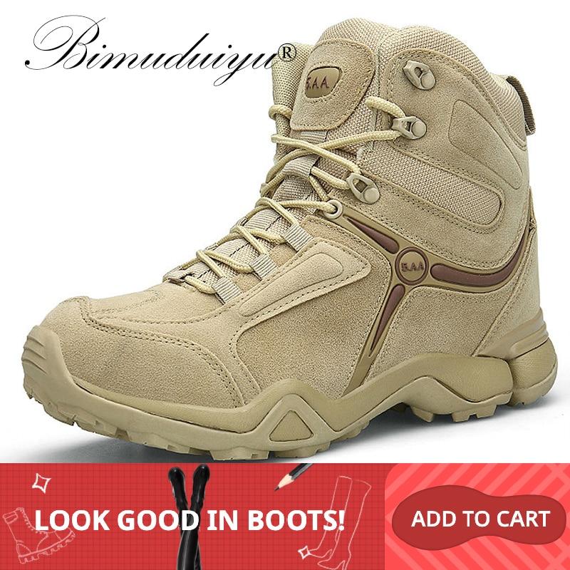 BIMUDUIYU hommes qualité marque bottes militaires tactiques désert Combat bateaux armée travail chaussures en cuir antidérapant bottes hommes baskets