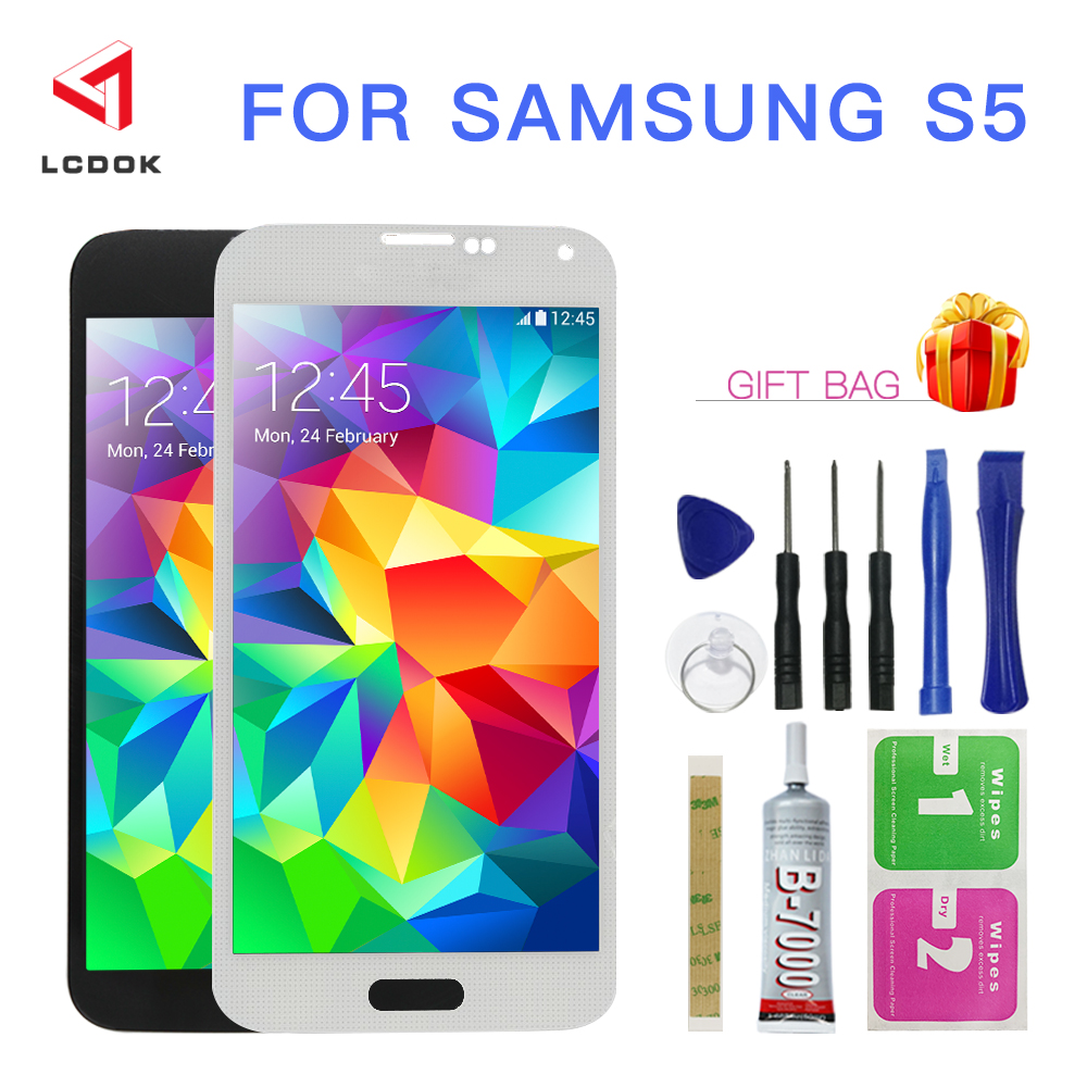 100% Tested Adjust Brightness LCD For <font><b>Samsung</b></font> Galaxy S5 G900 G900R <font><b>G900F</b></font> G900H G900T LCD <font><b>Display</b></font> Touch Screen Digitizer Assembly image