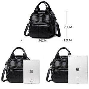 Image 4 - Korean Style Leisure Soft Leather Female Backpack 2018 Multifunction Travel Bag Mini Backpack Mom Women Shoulder Bag Sac A Dos