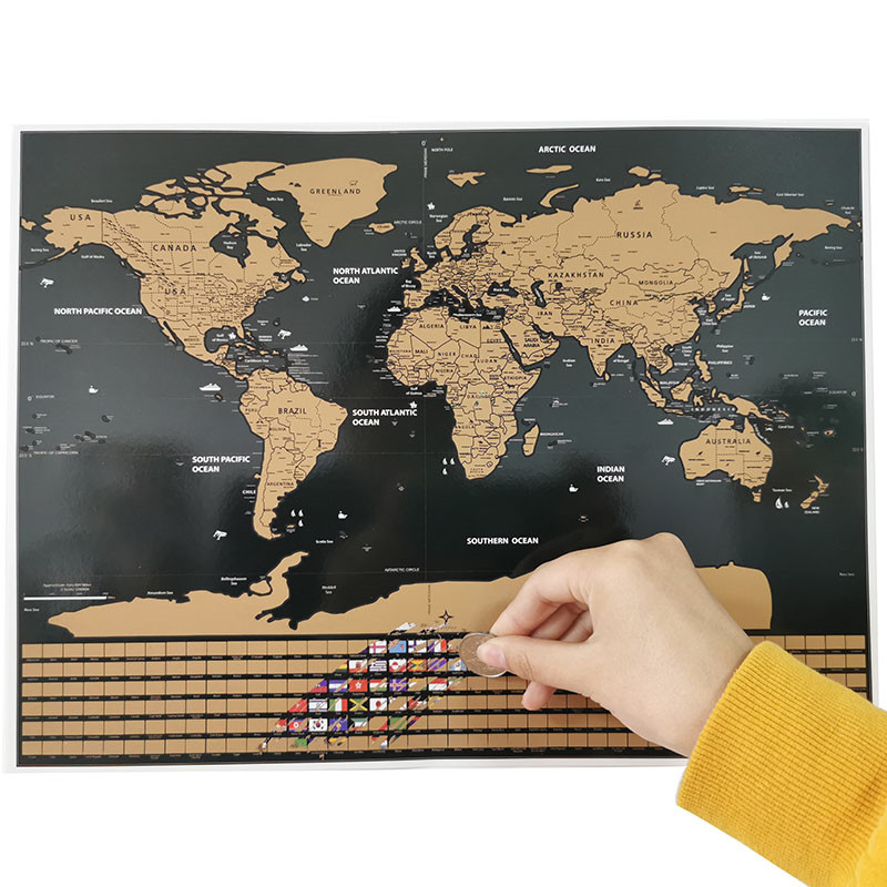 20 Pcs Scratch Map Flag Version Of The World Map 40*30cm Decorative Wall Stickers Student Teaching Equipment Decorative Poster