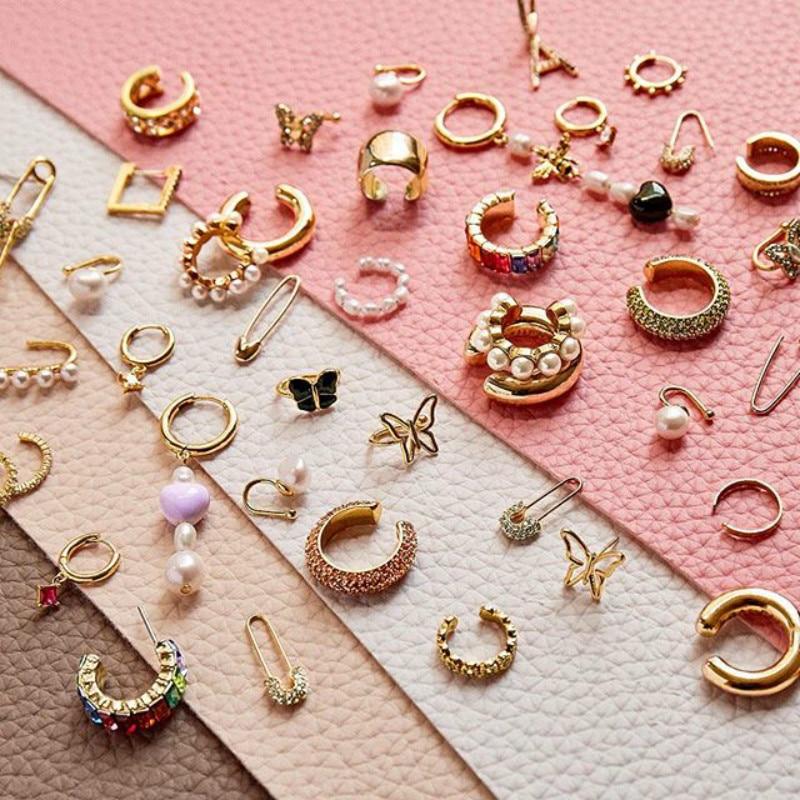 Fashion Trendy Bijoux Round Circle C-Shape Ear Cuff Earrings Boho Pearl Metal Earcuff Hoop Earrings For Women Huggie Jewelry