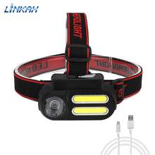Portable 2 * COB + XPE LED Headlamp 4 Modes USB Rechargeable Fishing Head Light Mini Night Lantern For Outdoor Camping Hiking(China)