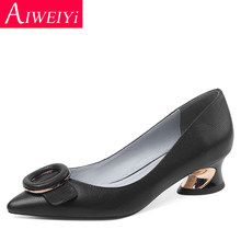 Genuine Leather Woman Shoes Black Beige Platform Pumps Metal Med Heels Non-slip Ladies Dress Party Pumps(China)