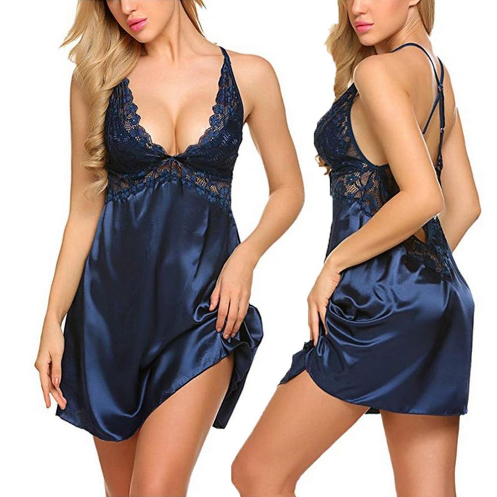 Women Lace Sleepwear Robe Pyjama Night Gown Nightdress Ladies Spaghetti Strap Satin Sexy Solid Satin Lace Nightgowns Homewear *X