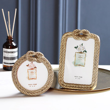 Home Wall Picture Ins Resin Hemp Rope Photo Frame Retro Rectangular Round Wedding Photo Frame Home Decoration Picture Frames giftgarden 5x7 silver alloy classic crown photo frames vintage picture frame table decoration anniversary gift wedding decor