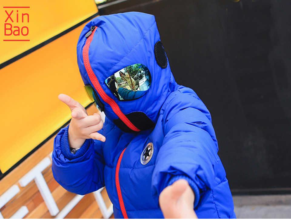 XINBAO 2019 erkek kış ceket çocuklar kapüşonlu ceket gözlük kadife aşağı ceket kız ceket karikatür yastıklı çocuk kış ceket