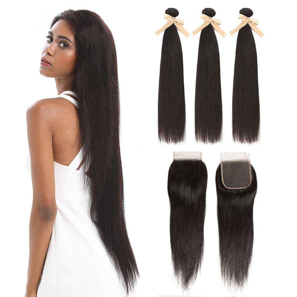 Remy Forte Straight Hair Bundles With Closure Remy Brazilian Hair Weave Bundles 8-30 Inch Human Hair 3/4 Bundles With Closure