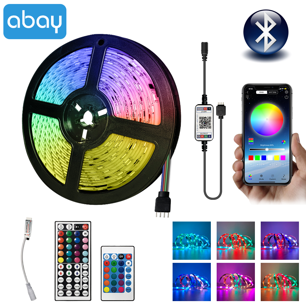 Bluetooth LED Strip RGB 5050 SMD 2835 Led Light Tape Waterproof DC12V Flexible Ribbon 5M 10M 15M Tape Diode IR Bluetooth Control