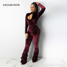 ANJAMANOR Sexy Fluwelen Jumpsuit Vrouwen Kleding Party Club Wear Een Stuk Outfits Hollow Out Lange Mouwen Bell Bottom Broek D39-BB11(China)