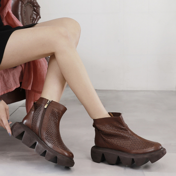 VALLU Spring / Summer 2020 new cool boots female thick bottom muffin leather hollow hole shoes solid color outdoor leisure