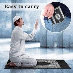Tapis pliant facile à transporter tapis de prière de poche à genoux Poly tapis avec boussole pour musulman Islam imperméable tapis de prière couverture de maison