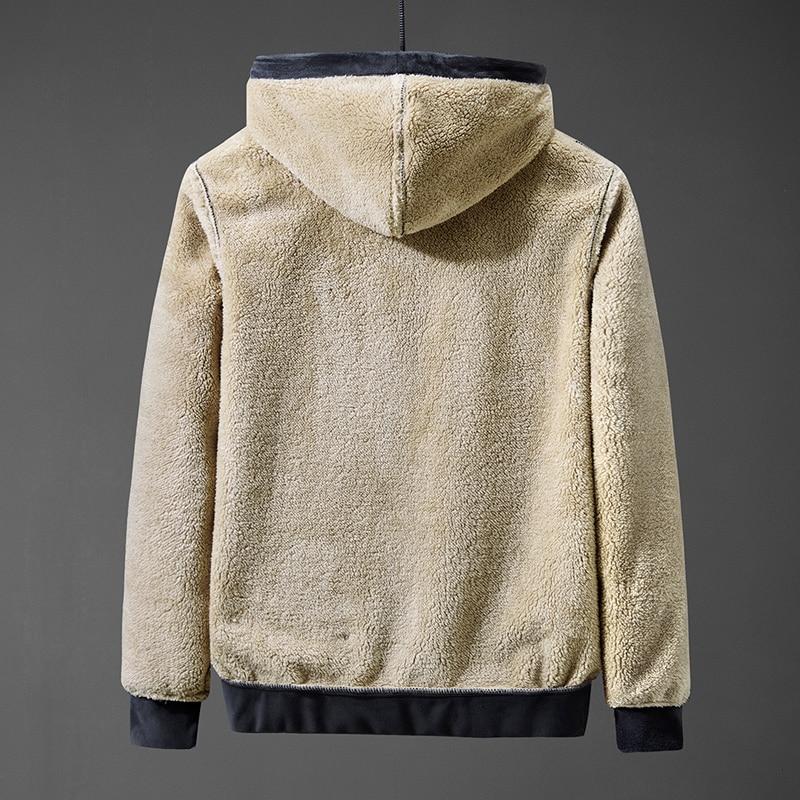 Men's hoodie  jacket coat lamb down men's sweater coat plus size Silver fox cashmere men's warm  jacket 3