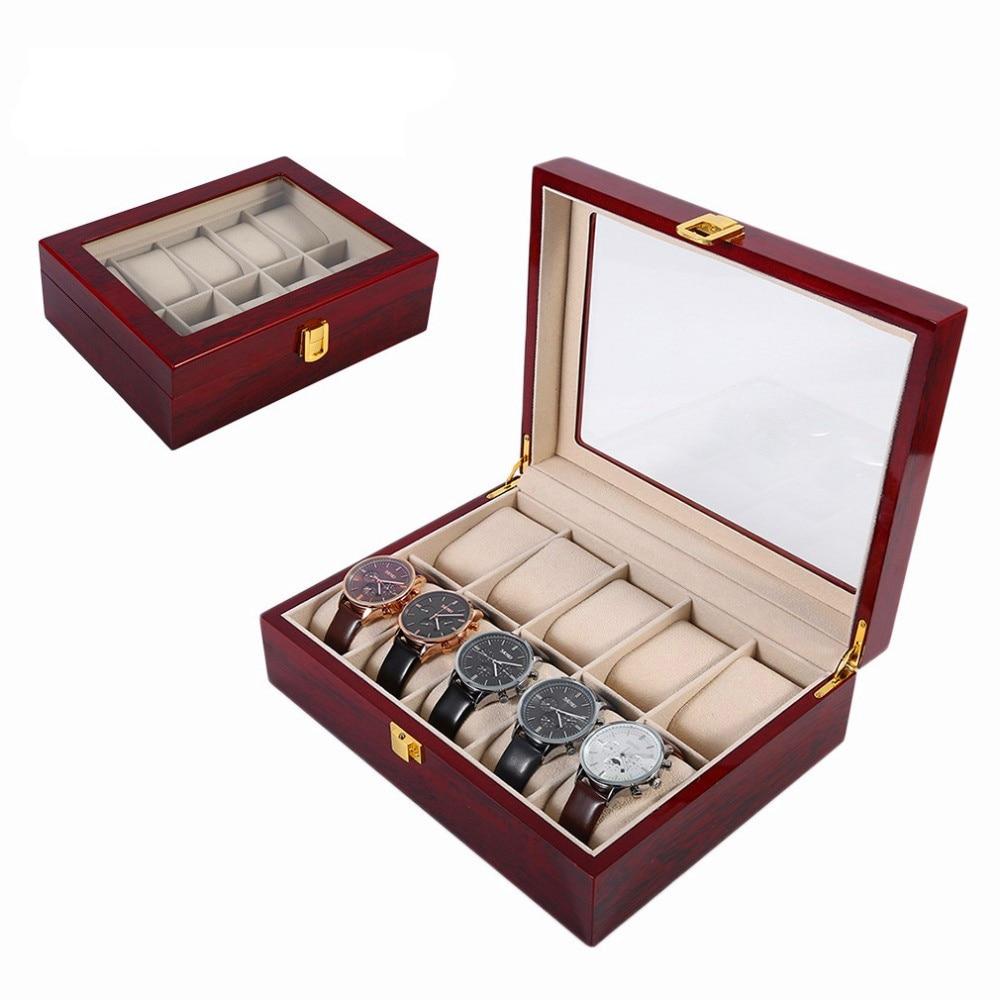 Pintura do Cozimento de Relógio de Madeira Caixa de Jóias Tampa de Vidro Caixa de Armazenamento de Grande Luxo Grades Vermelha Mostrar Organizer Case Relógios Caja Reloj 10
