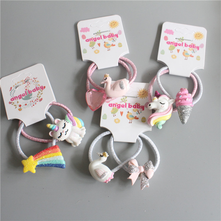 2PCS New Cartoon Cute Meteor Kitten Princess Headwear Kids Elastic Hair Bands Children Ropes Girls Accessories Baby Headdress