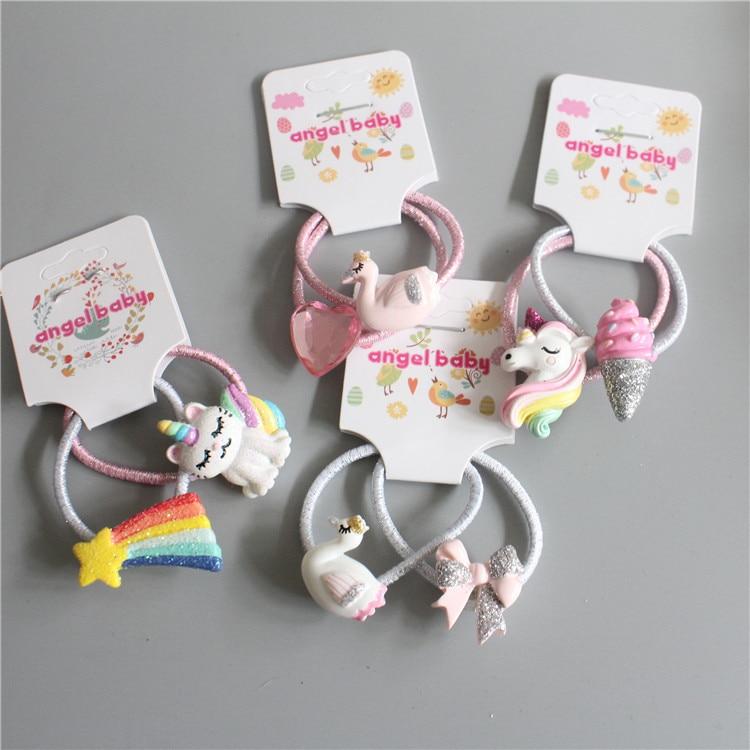 2PCS New Cartoon Cute Meteor Kitten Princess Headwear Kids Elastic Hair Bands Children Ropes Girls Accessories Baby Headdress