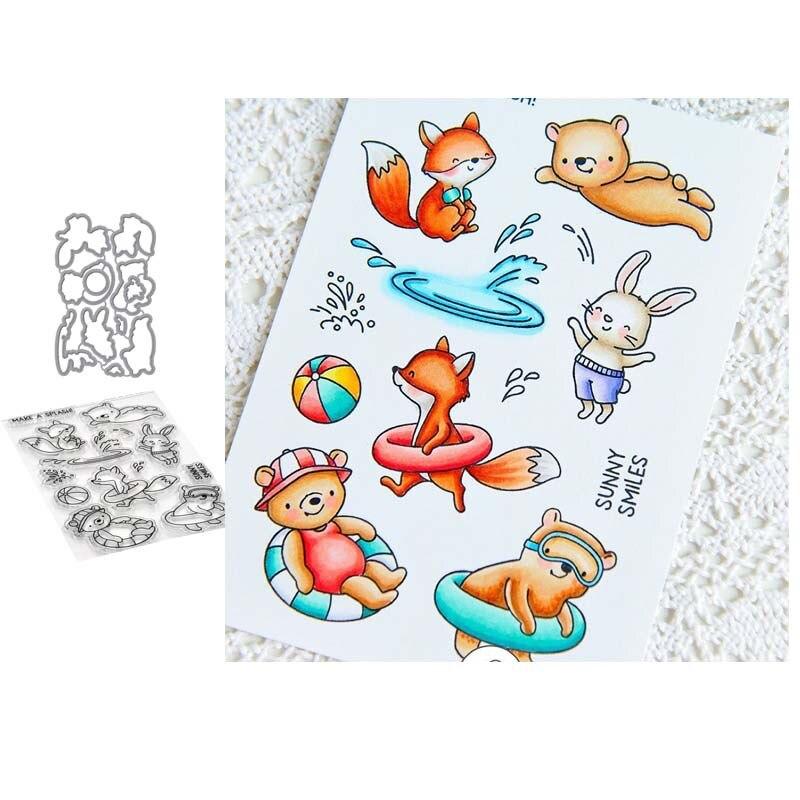 Купить реюньон лиса медведь плавание 2020 прозрачные штампы и металлические