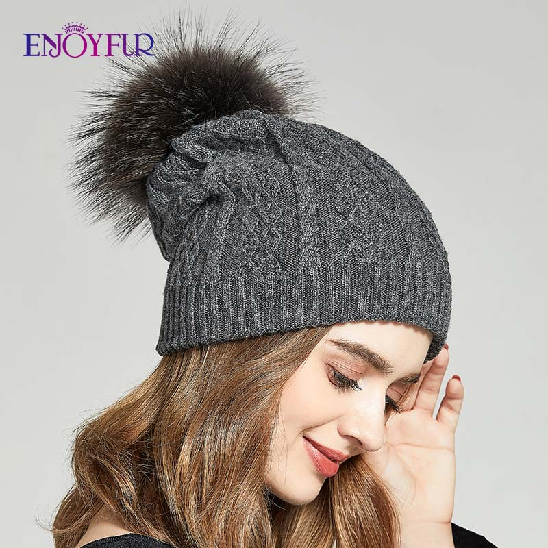 ENJOYFUR Winter Slouchy Hats For Women Real Raccoon Fur Pompom Beanies Thick Warm Knitted Lady Caps