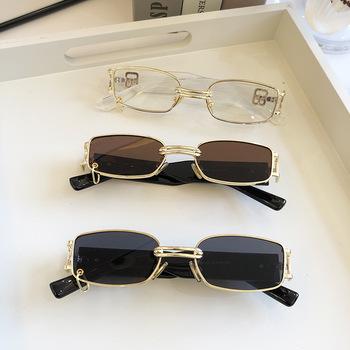 Retro europejskie i amerykańskie damskie okulary przeciwsłoneczne koreańskie modne okulary przeciwsłoneczne fajne męskie gwiazdy tego samego stylu osobowości box metal high tanie i dobre opinie ALIKIAI CN (pochodzenie) Z tworzywa sztucznego owalne Dla osób dorosłych STOP NONE UV400 33mm 85103 60mm