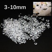 1000 pces cristal diamante 3-10mm misturado cristal acrílico transparente diamante festa de casamento decro para um dramático