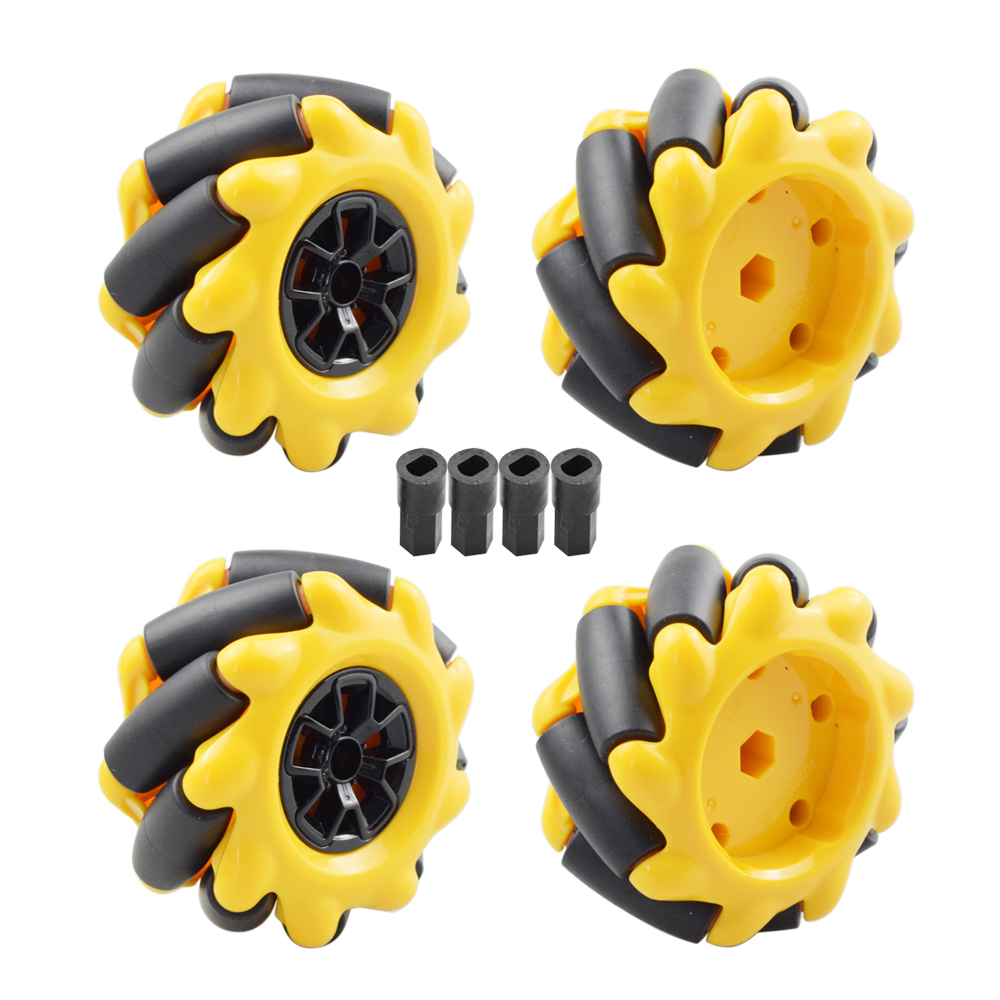 Yellow 60mm Mecanum Wheel Omni-directional Tire With 4pcs TT Motor Connector For Arduino Raspberry Pi DIY RC Toy Parts