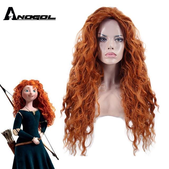 Anogol ücretsiz kısmı cesur Merida peruk uzun turuncu derin dalga yüksek sıcaklık Fiber sentetik saç prenses Cosplay peruk cadılar bayramı için