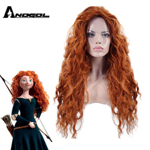 Anogol parte livre bravo merida peruca longa laranja onda profunda de alta temperatura fibra cabelo sintético princesa cosplay peruca para o dia das bruxas