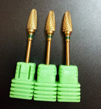 High quality 1pcs green Coarse Goden Coarse nail file drill flame Bit nail art tools electric