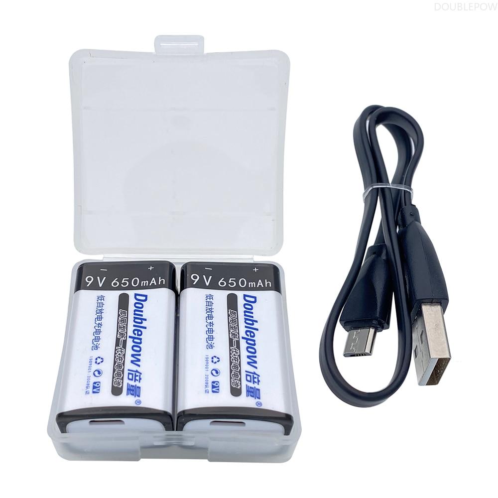 Batterie Rechargeable USB 8.4V/9V-Lithium-Ion, 650mAh, écologique, chargement USB, Recharge rapide 1.5h, Li-Ion