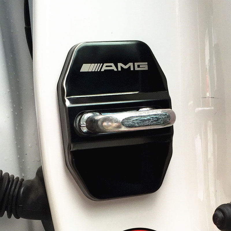 cheapest 4pc Door Lock Decoration Protection Cover Emblem case For Mercedes-AMG With Logo Stainless Steel Door Lock Cap Car styling