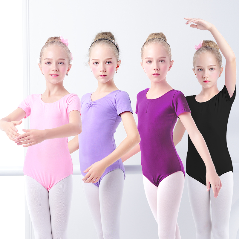 Toddler Girls Gymnastics Leotard Ballet Clothes Dance Wear Black Purple Leotards Cotton Bodysuit For Dancing